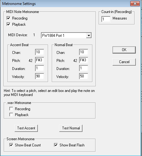 Metronome Settings dialog