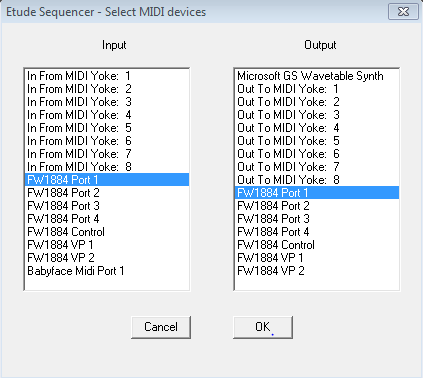 Select MIDI Devices dialog